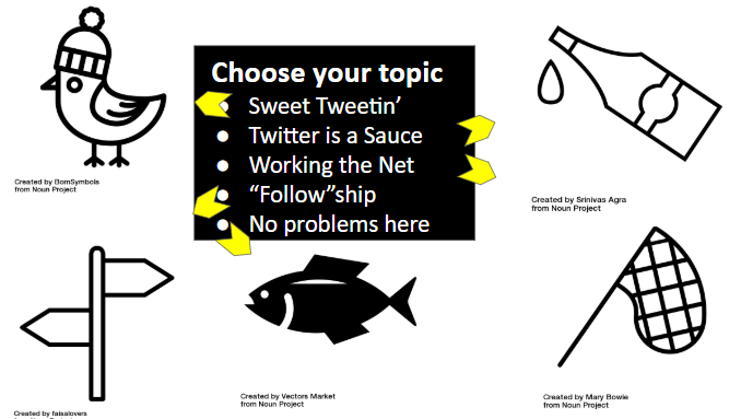 choose your topic: sweet tweetin, twitter is a sauce, working the net, followship, no problems here.